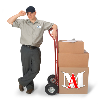 Moving Company Employee with Handcart and Moving Boxes